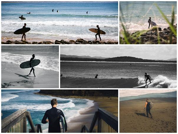 Plaquette surfeurs australiens plages